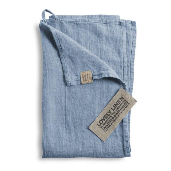 Linnehandduk i dusty blue, häng upp i badrummet eller använd som kökshandduk