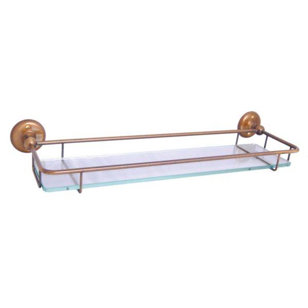 Haga glashylla i bron för badrum