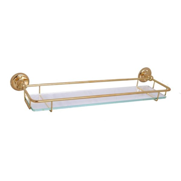 Haga glashylla i mässing för badrum