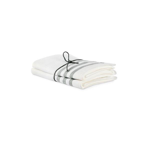 2-pack kökshanddukar med vit botten och diagonal i betong, från Axlings.