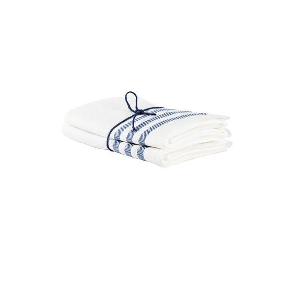 Handduk 100% lin med vit botten och diagonal i marin 2-p, från Axlings