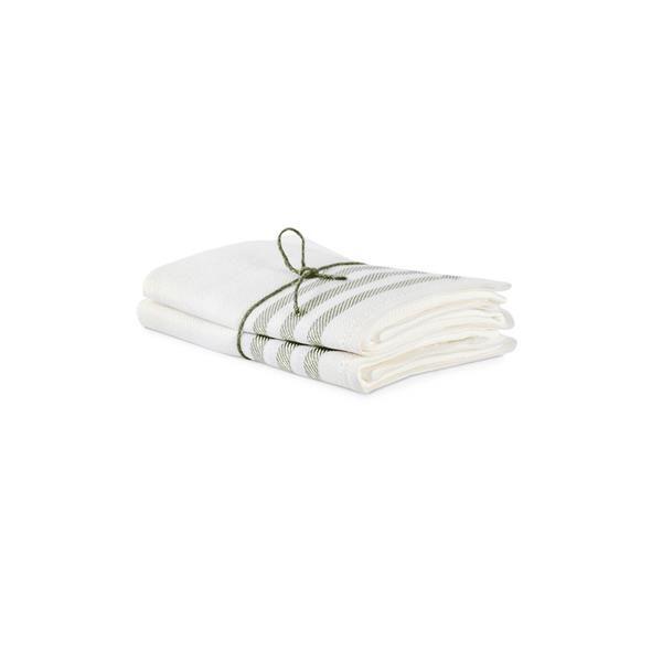 Kökshanddukar i 2 pack med vit botten och diagonal i salvia från Axlings.