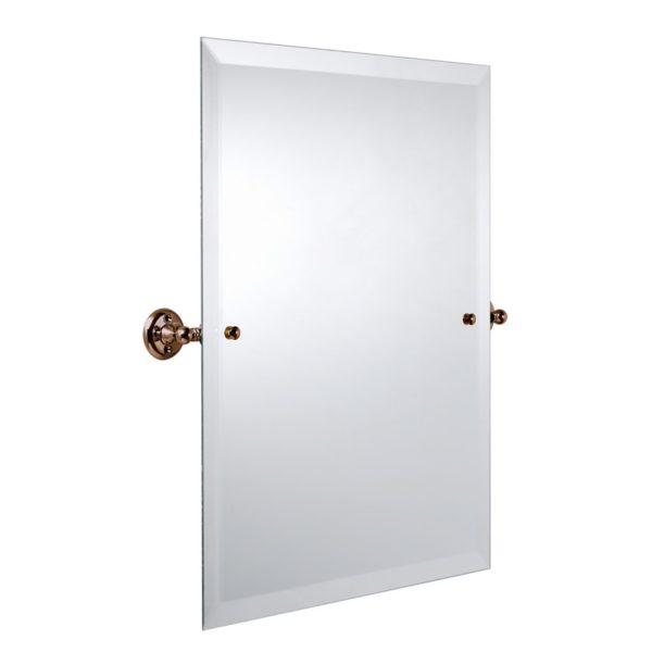 Haga spegel rektangulär med fasad kant och fästen i brons